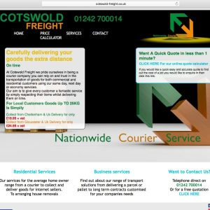 A screen shot of the landing page for Cotswold Freight
