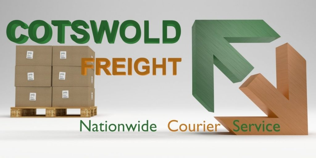 A 3D graphic of Cotswold Freights logo, in the background a pallet filled with brown boxes