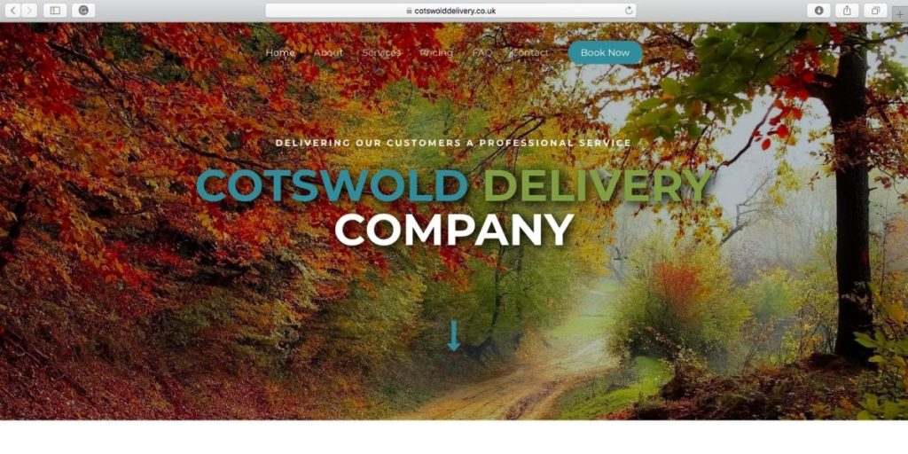 A screen shot of Cotswold Delivery Companies landing page